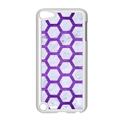 Hexagon2 White Marble & Purple Brushed Metal (r) Apple Ipod Touch 5 Case (white)