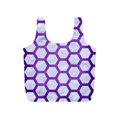 Hexagon2 White Marble & Purple Brushed Metal (r) Full Print Recycle Bags (s)  by trendistuff