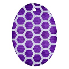 Hexagon2 White Marble & Purple Brushed Metal Ornament (oval)