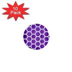 Hexagon2 White Marble & Purple Brushed Metal 1  Mini Buttons (10 Pack)