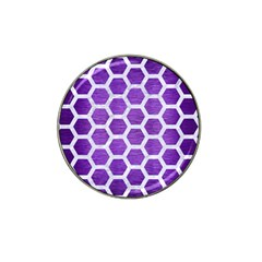 Hexagon2 White Marble & Purple Brushed Metal Hat Clip Ball Marker (4 Pack)