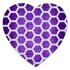 Hexagon2 White Marble & Purple Brushed Metal Jigsaw Puzzle (heart)