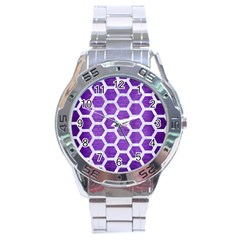 Hexagon2 White Marble & Purple Brushed Metal Stainless Steel Analogue Watch
