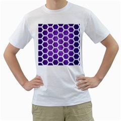 Hexagon2 White Marble & Purple Brushed Metal Men s T Shirt (white)