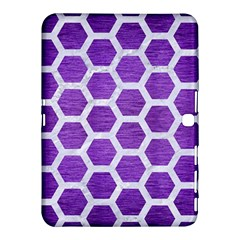 Hexagon2 White Marble & Purple Brushed Metal Samsung Galaxy Tab 4 (10 1 ) Hardshell Case  by trendistuff