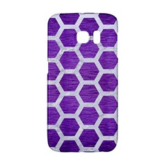 Hexagon2 White Marble & Purple Brushed Metal Galaxy S6 Edge by trendistuff