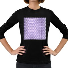 Hexagon1 White Marble & Purple Brushed Metal (r) Women s Long Sleeve Dark T Shirts