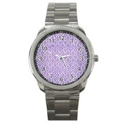 Hexagon1 White Marble & Purple Brushed Metal (r) Sport Metal Watch by trendistuff