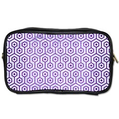 Hexagon1 White Marble & Purple Brushed Metal (r) Toiletries Bags by trendistuff
