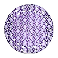 Hexagon1 White Marble & Purple Brushed Metal (r) Ornament (round Filigree)