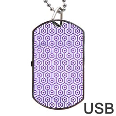 Hexagon1 White Marble & Purple Brushed Metal (r) Dog Tag Usb Flash (two Sides)