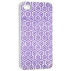 Hexagon1 White Marble & Purple Brushed Metal (r) Apple Iphone 4/4s Seamless Case (white)