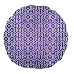 Hexagon1 White Marble & Purple Brushed Metal (r) Large 18  Premium Flano Round Cushions by trendistuff