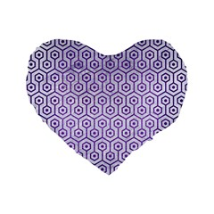 Hexagon1 White Marble & Purple Brushed Metal (r) Standard 16  Premium Flano Heart Shape Cushions