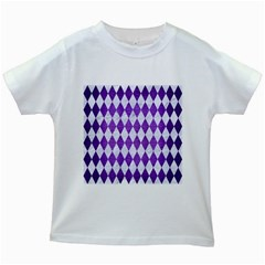 Diamond1 White Marble & Purple Brushed Metal Kids White T Shirts