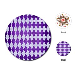 Diamond1 White Marble & Purple Brushed Metal Playing Cards (round)  by trendistuff