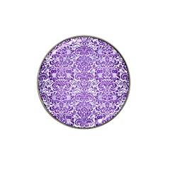 Damask2 White Marble & Purple Brushed Metal (r) Hat Clip Ball Marker by trendistuff