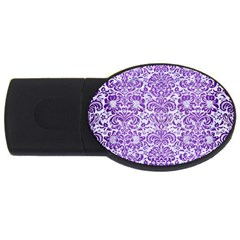 Damask2 White Marble & Purple Brushed Metal (r) Usb Flash Drive Oval (4 Gb)