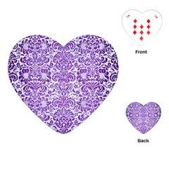 Damask2 White Marble & Purple Brushed Metal (r) Playing Cards (heart)  by trendistuff