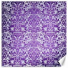 Damask2 White Marble & Purple Brushed Metal (r) Canvas 20  X 20