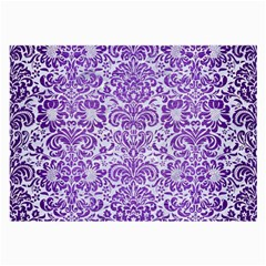 Damask2 White Marble & Purple Brushed Metal (r) Large Glasses Cloth