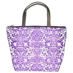 Damask2 White Marble & Purple Brushed Metal (r) Bucket Bags