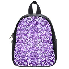Damask2 White Marble & Purple Brushed Metal (r) School Bag (small) by trendistuff