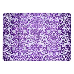 Damask2 White Marble & Purple Brushed Metal (r) Samsung Galaxy Tab 10 1  P7500 Flip Case by trendistuff