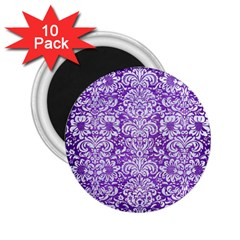 Damask2 White Marble & Purple Brushed Metal 2 25  Magnets (10 Pack)