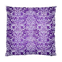 Damask2 White Marble & Purple Brushed Metal Standard Cushion Case (one Side)