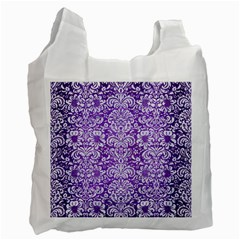 Damask2 White Marble & Purple Brushed Metal Recycle Bag (one Side)