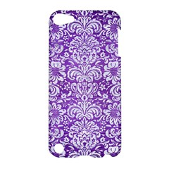 Damask2 White Marble & Purple Brushed Metal Apple Ipod Touch 5 Hardshell Case by trendistuff