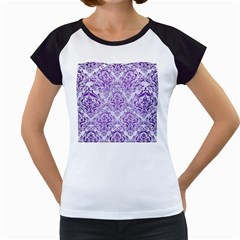 Damask1 White Marble & Purple Brushed Metal (r) Women s Cap Sleeve T