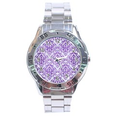 Damask1 White Marble & Purple Brushed Metal (r) Stainless Steel Analogue Watch