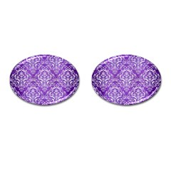 Damask1 White Marble & Purple Brushed Metal Cufflinks (oval)