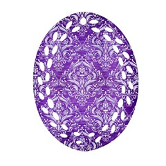 Damask1 White Marble & Purple Brushed Metal Oval Filigree Ornament (two Sides)