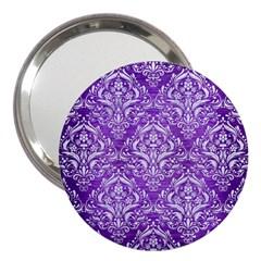 Damask1 White Marble & Purple Brushed Metal 3  Handbag Mirrors