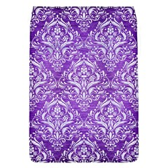 Damask1 White Marble & Purple Brushed Metal Flap Covers (l)