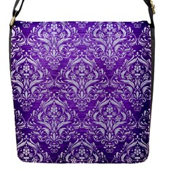 Damask1 White Marble & Purple Brushed Metal Flap Messenger Bag (s)