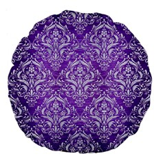 Damask1 White Marble & Purple Brushed Metal Large 18  Premium Flano Round Cushions