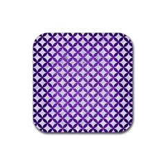 Circles3 White Marble & Purple Brushed Metal (r) Rubber Square Coaster (4 Pack)