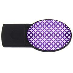Circles3 White Marble & Purple Brushed Metal (r) Usb Flash Drive Oval (4 Gb)