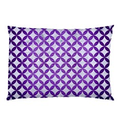 Circles3 White Marble & Purple Brushed Metal (r) Pillow Case (two Sides)