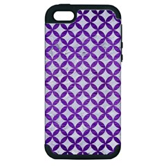 Circles3 White Marble & Purple Brushed Metal (r) Apple Iphone 5 Hardshell Case (pc+silicone)