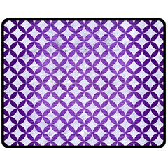 Circles3 White Marble & Purple Brushed Metal (r) Double Sided Fleece Blanket (medium)