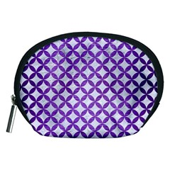 Circles3 White Marble & Purple Brushed Metal (r) Accessory Pouches (medium)