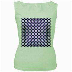 Circles3 White Marble & Purple Brushed Metal Women s Green Tank Top