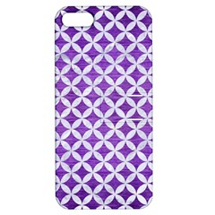 Circles3 White Marble & Purple Brushed Metal Apple Iphone 5 Hardshell Case With Stand