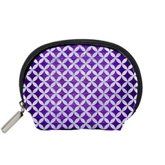 Circles3 White Marble & Purple Brushed Metal Accessory Pouches (small)  by trendistuff