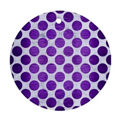 Circles2 White Marble & Purple Brushed Metal (r) Ornament (round)